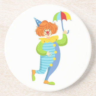 Colorful Friendly Clown With Mini Umbrella Coaster