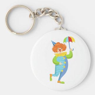 Colorful Friendly Clown With Mini Umbrella Keychain