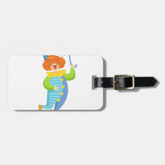 Colorful Friendly Clown With Mini Umbrella Luggage Tag