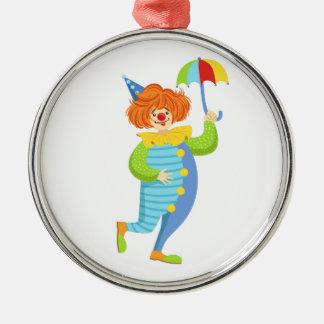 Colorful Friendly Clown With Mini Umbrella Metal Ornament