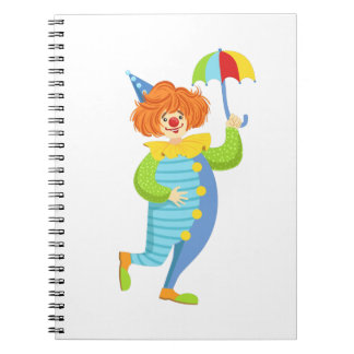 Colorful Friendly Clown With Mini Umbrella Notebook