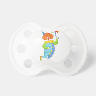 Colorful Friendly Clown With Mini Umbrella Pacifier