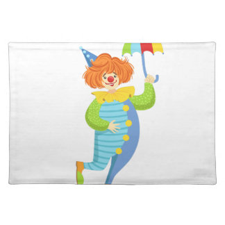 Colorful Friendly Clown With Mini Umbrella Placemat