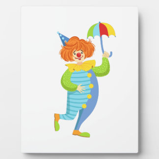 Colorful Friendly Clown With Mini Umbrella Plaque