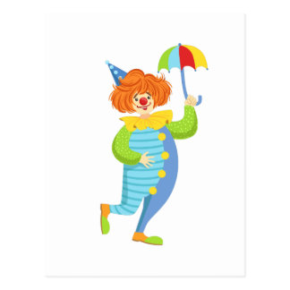 Colorful Friendly Clown With Mini Umbrella Postcard