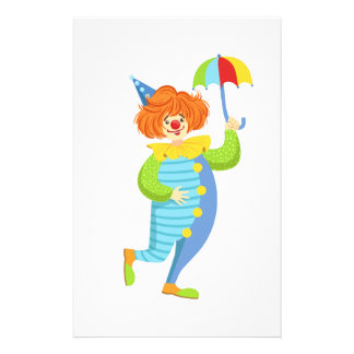 Colorful Friendly Clown With Mini Umbrella Stationery