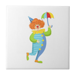 Colorful Friendly Clown With Mini Umbrella Tile