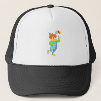 Colorful Friendly Clown With Mini Umbrella Trucker Hat