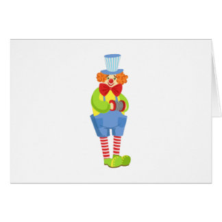 Colorful Friendly Clown With Miniature Accordion I Card
