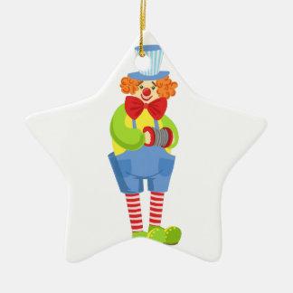 Colorful Friendly Clown With Miniature Accordion I Ceramic Ornament