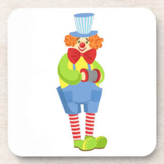 Colorful Friendly Clown With Miniature Accordion I Coaster
