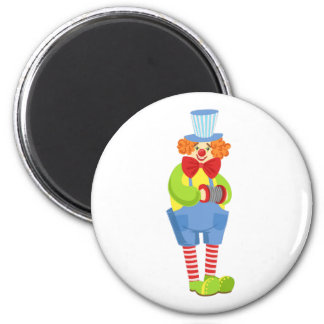 Colorful Friendly Clown With Miniature Accordion I Magnet