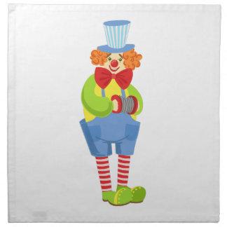 Colorful Friendly Clown With Miniature Accordion I Napkin