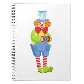 Colorful Friendly Clown With Miniature Accordion I Notebook