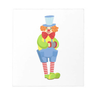 Colorful Friendly Clown With Miniature Accordion I Notepad
