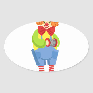 Colorful Friendly Clown With Miniature Accordion I Oval Sticker