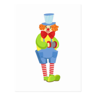Colorful Friendly Clown With Miniature Accordion I Postcard