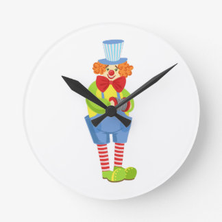 Colorful Friendly Clown With Miniature Accordion I Round Clock