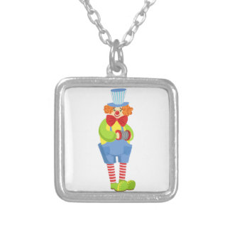 Colorful Friendly Clown With Miniature Accordion I Silver Plated Necklace
