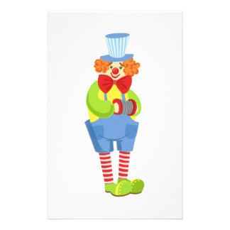 Colorful Friendly Clown With Miniature Accordion I Stationery