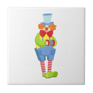 Colorful Friendly Clown With Miniature Accordion I Tile