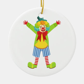 Colorful Friendly Clown With Multicolor Ceramic Ornament