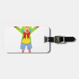 Colorful Friendly Clown With Multicolor Luggage Tag