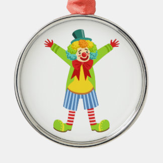 Colorful Friendly Clown With Multicolor Metal Ornament