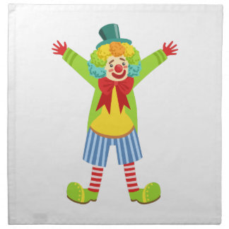 Colorful Friendly Clown With Multicolor Napkin