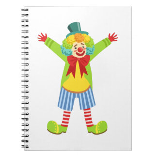 Colorful Friendly Clown With Multicolor Notebook