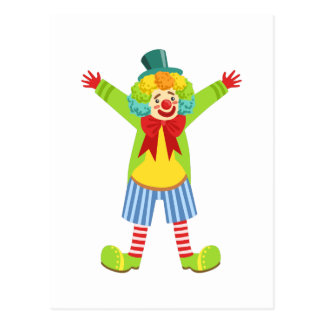Colorful Friendly Clown With Multicolor Postcard