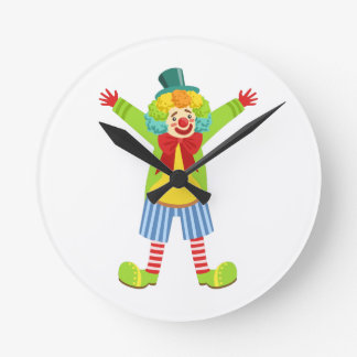 Colorful Friendly Clown With Multicolor Round Clock