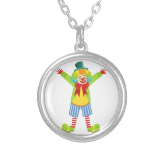 Colorful Friendly Clown With Multicolor Silver Plated Necklace