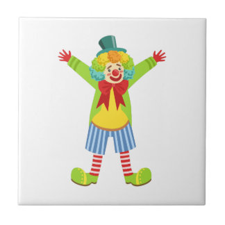 Colorful Friendly Clown With Multicolor Tile