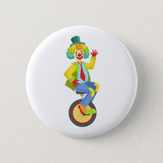 Colorful Friendly Clown With Rainbow Wig In Classi 2 Inch Round Button