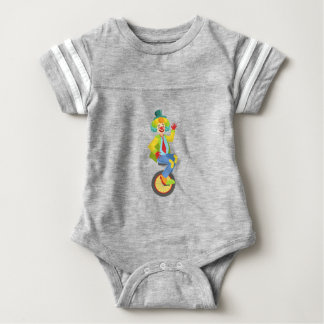 Colorful Friendly Clown With Rainbow Wig In Classi Baby Bodysuit