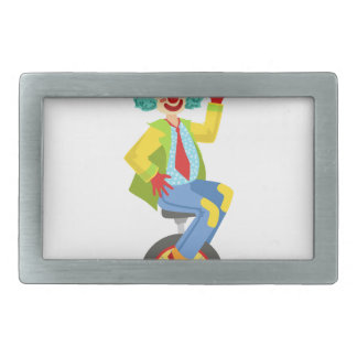 Colorful Friendly Clown With Rainbow Wig In Classi Belt Buckle