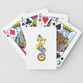 Colorful Friendly Clown With Rainbow Wig In Classi Bicycle Playing Cards