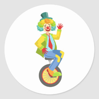 Colorful Friendly Clown With Rainbow Wig In Classi Classic Round Sticker