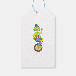 Colorful Friendly Clown With Rainbow Wig In Classi Gift Tags