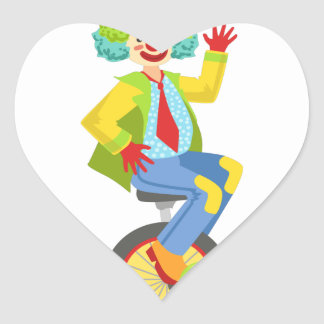 Colorful Friendly Clown With Rainbow Wig In Classi Heart Sticker