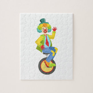 Colorful Friendly Clown With Rainbow Wig In Classi Jigsaw Puzzle