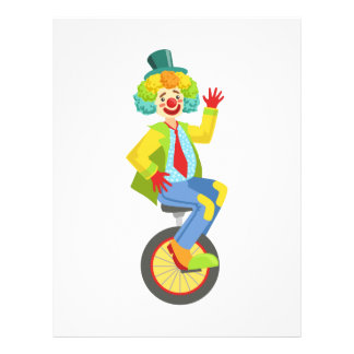 Colorful Friendly Clown With Rainbow Wig In Classi Letterhead