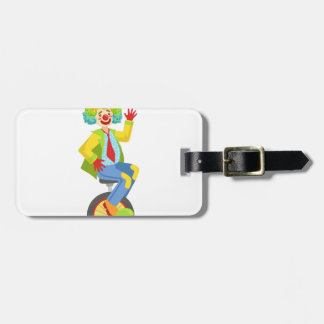 Colorful Friendly Clown With Rainbow Wig In Classi Luggage Tag