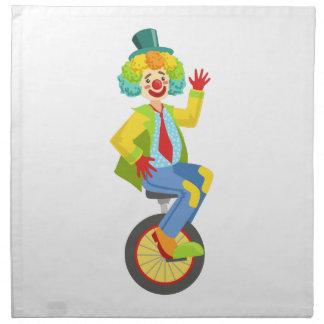 Colorful Friendly Clown With Rainbow Wig In Classi Napkin