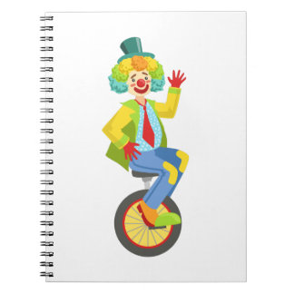 Colorful Friendly Clown With Rainbow Wig In Classi Notebook