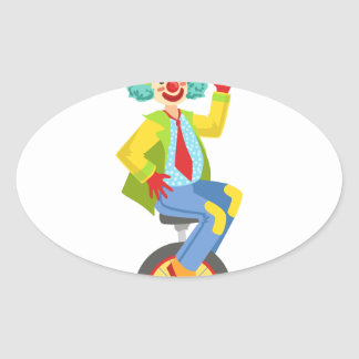 Colorful Friendly Clown With Rainbow Wig In Classi Oval Sticker