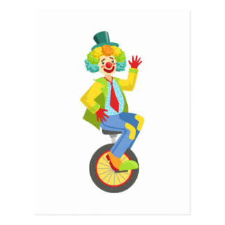 Colorful Friendly Clown With Rainbow Wig In Classi Postcard