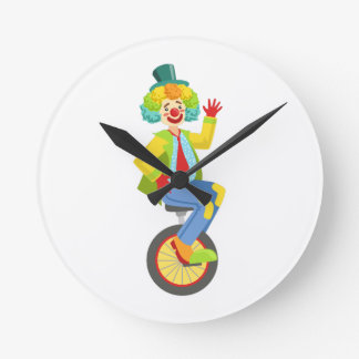 Colorful Friendly Clown With Rainbow Wig In Classi Round Clock