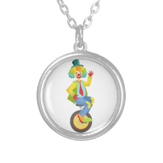 Colorful Friendly Clown With Rainbow Wig In Classi Silver Plated Necklace